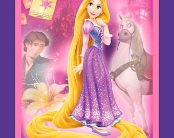 "Disney Princess Fabric: Disney Tangled characters - Rapunzel, Flynn, Pascal, Maximus Purple 100% cotton Fabric by the panel 35""x43"" (SC532)"
