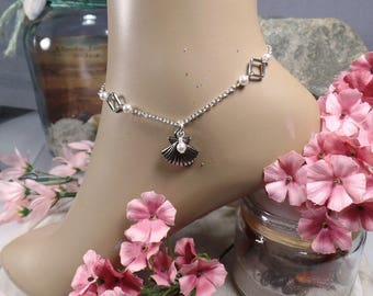 Anklet Beach Wedding Anklet Ankle Bracelet Beach Anklet Shell Anklet Pearl Anklet Bridesmaid Gift Beach Jewelry