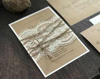 Rustic Elegant Wedding Set, Vintage Rustic Wedding Invitation, Shabby Chic Wedding Invitation, Vintage Wedding Invitation, Lace Wedding
