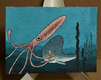 ACEO. Artist trading card. Original watercolour. 'Whale spots a snack.'