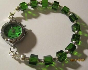 BONUS Interchangeable Beaded Watch Band or Medical ID Tag Bracelet...Green Squares....  BONUS...Free Watch ...read
