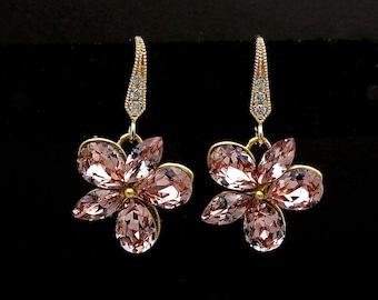 bridal jewelry bridesmaid gift prom Swarovski vintage rose blush pink multi shape flower crystal rhinestone drop cz deco gold hook earrings