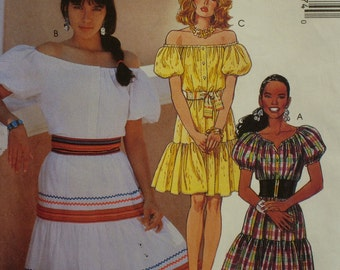 "Peasant Blouse Pattern, Three Tiered Skirt, Elastic Neck and Sleeves, Button Front, McCalls No. 4877 UNCUT Size 12 14 16 (Bust 34-38"")"