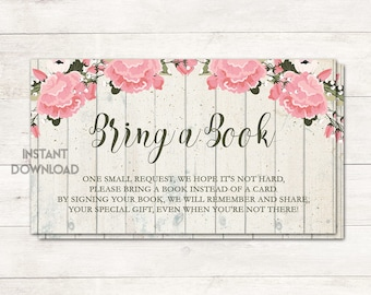 Books for Baby, Bring a Book Card, Baby Shower Girl, Shabby Chic Baby Shower, Rustic Baby Shower, Pink Flowers, Floral, Printable No. 1029