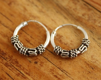 Sterling silver earrings.Silver 925 tribal hoops.Tribal design.Sterling silver jewelry.