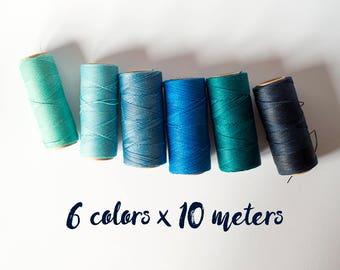 Linhasita macrame cord, linhasita macrame thread, polyester macrame thread, 6 color blue set, blue 60 meters macrame thread macrame cord