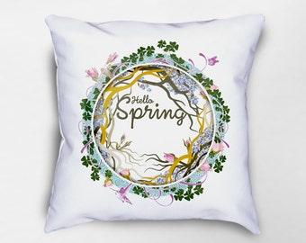 Hello Spring Throw Pillow, Spring Pillows, Spring Pillow Cover, Spring Decor, Easter Pillow, Floral Pillow, Nature Pillow, Easter Decor