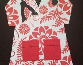Nurse Scrubs Notecards Red Floral