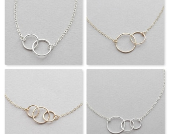 Unity Link Necklace / Circle Necklace / Minimal Link Necklace in Gold Fill and Sterling Silver / Friendship Necklace / Wedding gift