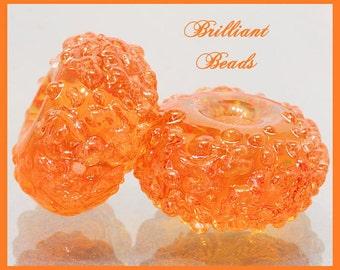 Orange Amber Sugared Glass Bead Pair - Handmade Lampwork Beads SRA, Made To Order