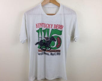 Vintage 80s 115th Kentucky Derby Chirchill Downs Horse Race T-Shirt - Size Medium