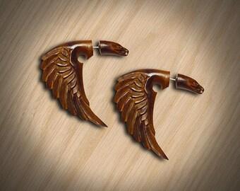 Fake Gauge, Tribal Earrings, Cheaters, Split, Organic, Eco-Friendly, Bird of Happiness, Wood Carving -W04