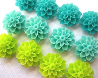 Magnet Set 12 pc Fridge Magnets, Turquoise, Lime Green, Aqua Magnets, Fun Magnets, Housewarming Gifts, Hostess Gifts, Wedding Favors