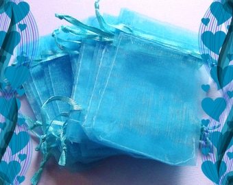 100 Organza Bags - ( 2.5 x 3 in ) .. Turquoise Organza Bags, Small Organza Bags, Organza Favor Bags, Organza Drawstring Pouch, Gift Bags