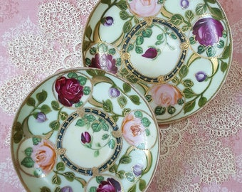 Sleeping Beauty's Poison Rose Vines, Antique Hand Painted Saucers, Set of 2 Plates, Imperfect