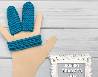 2 Finger Guard to Stop Finger Sucking - Ready to Ship - Age 6-7 - Crocheted Finger Guard