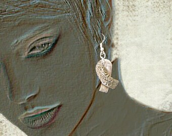 White bronze Ribbon earrings
