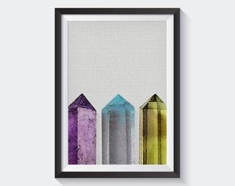 Crystal Wall Art Printable, Gem Print, Geometric Wall Art Print, Modern Home Decor, Illustration Print, Nursery Decor, Printable Poste