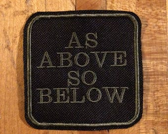 As above so below iron on patch