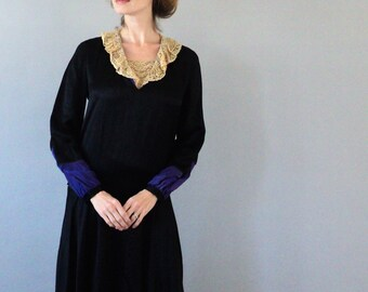 1920's Black Satin Korrect Dress