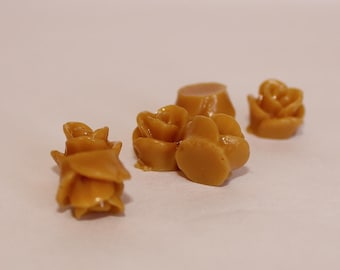 10 TEENY ROSE Cabochons - 8mm - Mustard Color