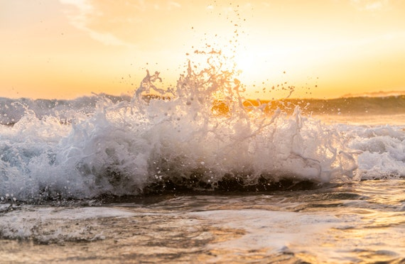 FROTH. Seascape Print, Waves, Tarifa, Sea Picture, Sunset, Spain, Ocean Art, Photographic Print