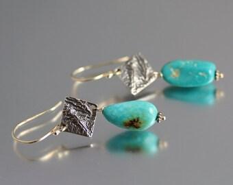 Sterling Silver Turquoise Earrings - Kingman Turquoise - Turquoise Drop Earrings - Reticulated Silver