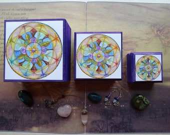 Jewellery Box ~ Set of 3 Stackable Boxes, Wooden Box, Storage Box, Spiritual Gift, Crystal Storage, Essential Oil, Mandala, Art Print