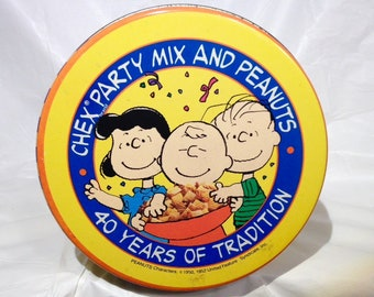 1990 Chex Vintage Tin/40th Anniversary/Celebrate with the Peanuts Gang!/Chex Party Mix Recipe