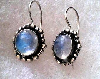 Earrings Moonstone, Sterling Rainbow Moonstone Earrings, Blue Moonstone, Sterling Moonstone Earring, June Birthstone Jewelry, Granulated