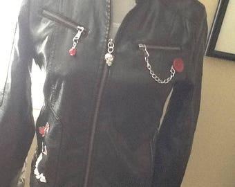 Women's M Faux Leather Upscaled Jacket
