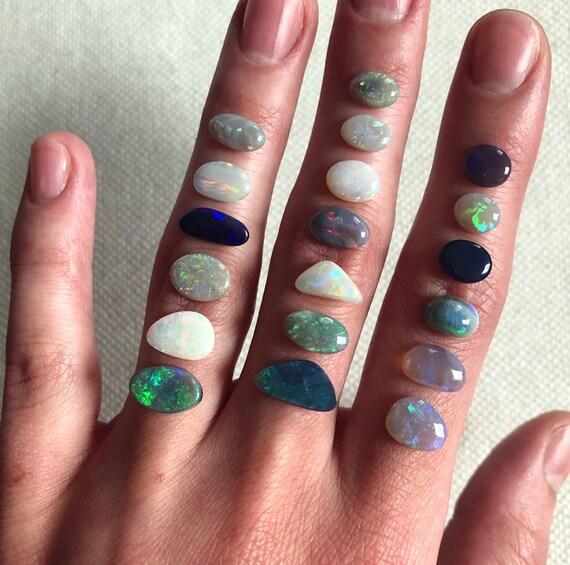 Australian Opal rings; Sterling silver Opal ring; 14K yellow gold Opal ring