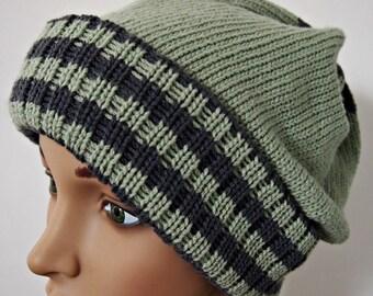 Mütze wolle Salbei grün und grau Streifen