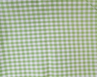 Green Gingham Cotton Polyester Blend Fabric 2 Yards X1289