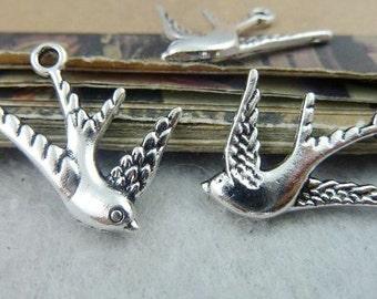 30PCS antique silver 17x26mm swallow charm pendant- XC6514