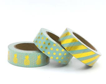 10m Washi Tape rolls mint green  gold pineapples fun, girl, planner supplies scrapbooking bestseller cheap