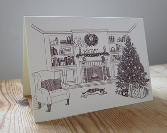 Sleeping Cat Christmas Card