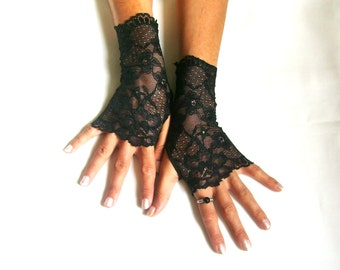 Black lace gloves  fingerless gloves lace armwarmers black gloves
