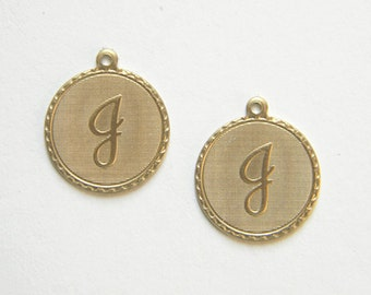 Raw Brass Letter J Charm Monogram Initial Drop 20m x 22mm - 4 pcs. (r265)