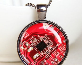 Computer geek gift - Techie necklace - REAL Circuit board necklace - geekery - recycled computer motherboard - recomputing