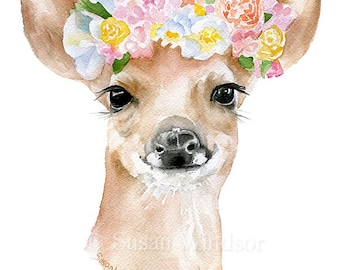 Deer Fawn Floral Watercolor Painting 8 x 10 Fine Art Giclee Reproduction - Woodland Animal Springtime Art Print 8.5 x 11