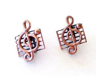 Vintage RENOIR Copper Music Note  Screwback Earrings, Renoir Earrings, Vintage Copper Earrings, Vintage Music Jewelry, Renoir Music Earrings