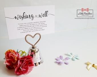 Printed Wishing Well Cards, Wedding Wishing Well Card, Printed Wishing Well, Printed Wishing Well Flat Cards, Wedding Stationery