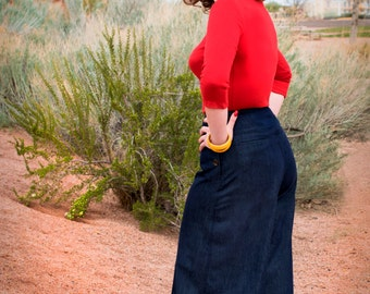 Hey Sailor 1930s style wide leg pants in CHAMBRAY Small or Medium