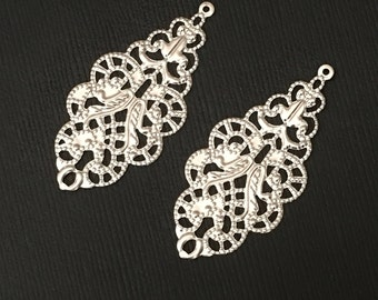 Bulk 100 pcs of silver filigree connector links 19x42mm, silver filigree drops, silver filigree pendant