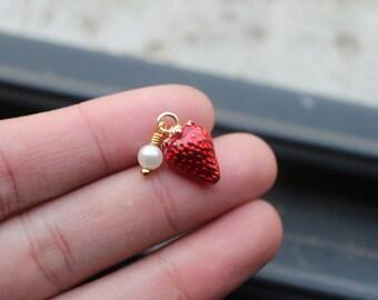 2PCS. Gold Strawberry Charm Red Enamel Pendant Tiny Fruit Jewelry Supplies-Fruit-10*15mm