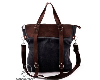 Large women's bag, waxed canvas bag, shoulder bag, canvas bag, convertible messenger, waxed canvas leather bag, womens gray backpack