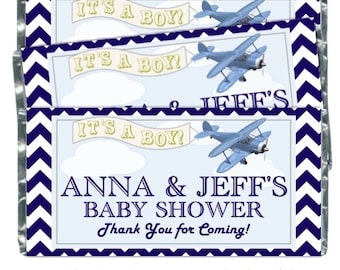 35 Airplane Baby Shower Candy Wrappers, Boy Baby Shower Candy Wrappers, fit over 1.55 oz chocolate bars, bi plane, navy chevron wrapper