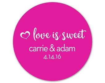 Custom Wedding Stickers - Personalized Wedding Favor Labels - Love is Sweet Stickers - Bridal Shower Labels - Custom Wedding Stickers