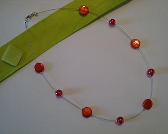 Rhône orange and Red beaded necklace